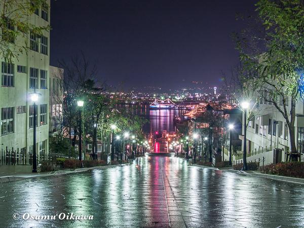 函館市八幡坂 夜景 雨上がり 2006